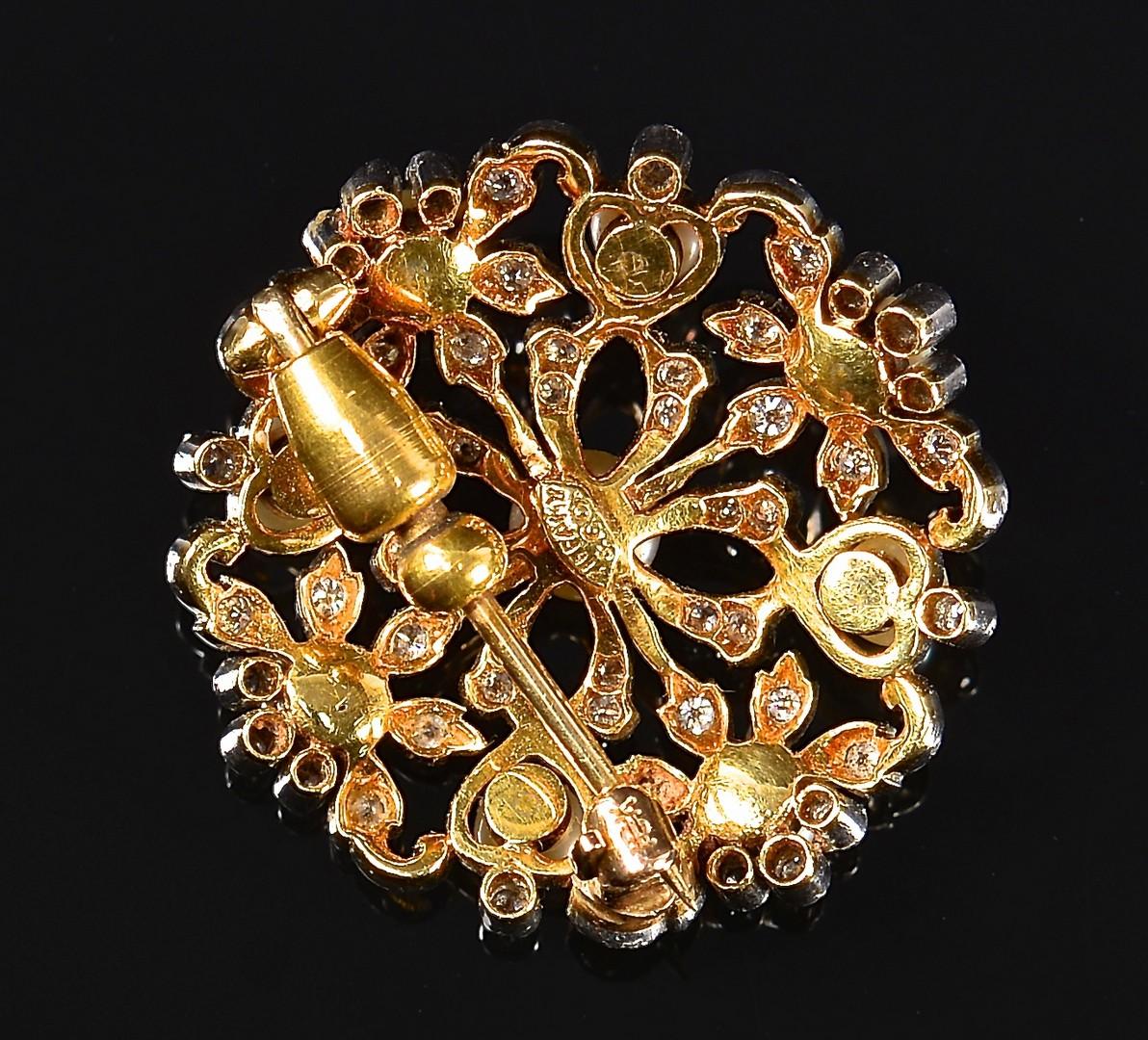 Lot 365: 18k Tiffany Pearl and Diamond Pin