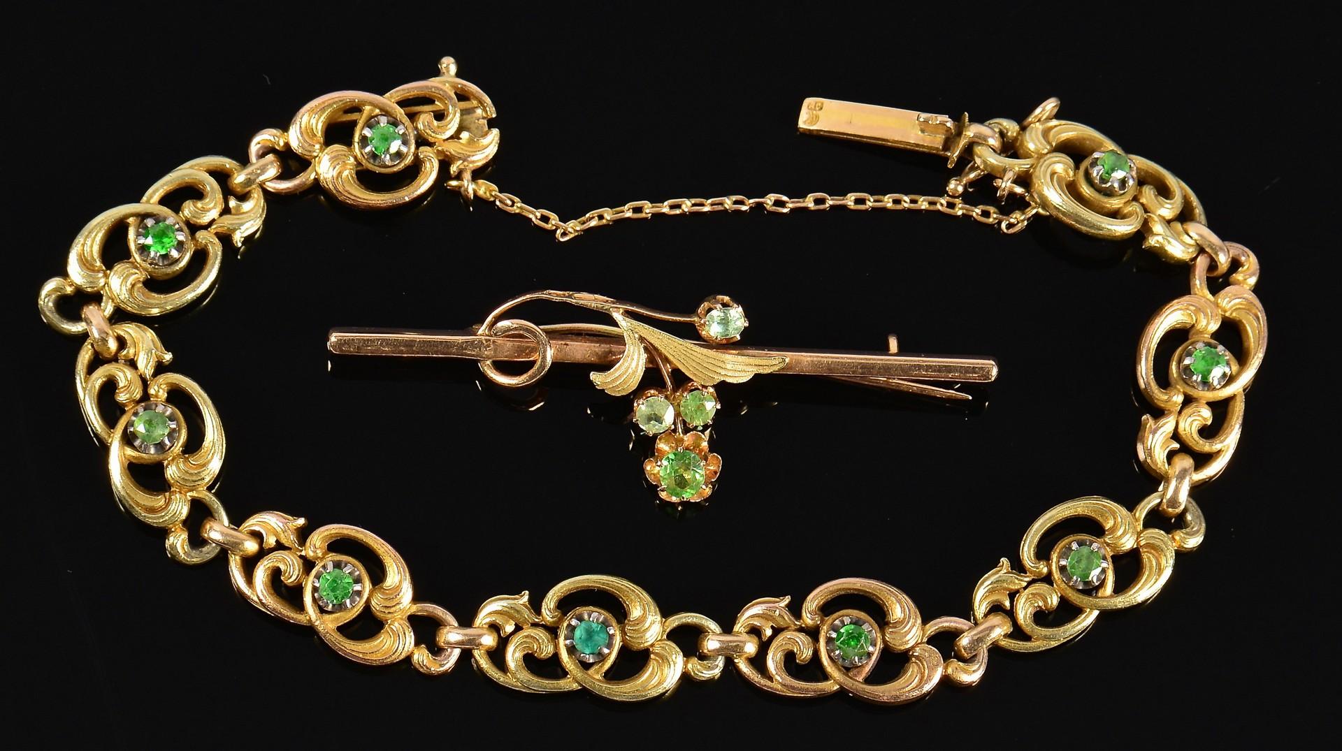 Lot 369: 10k Garnet Russian Pin & Bracelet