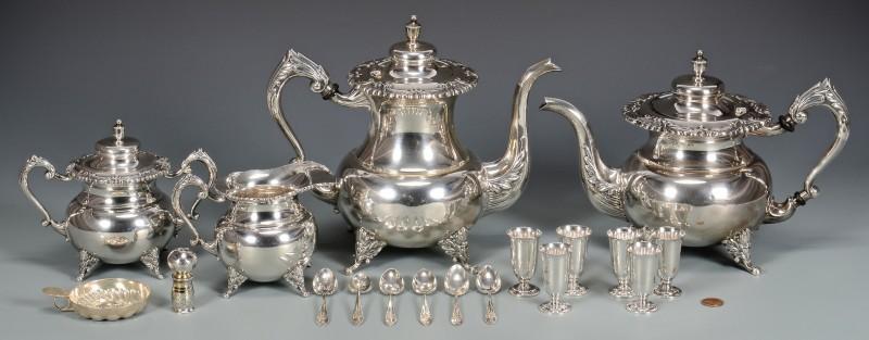 Lot 36: 950 Silver 4-piece Tea Service plus other