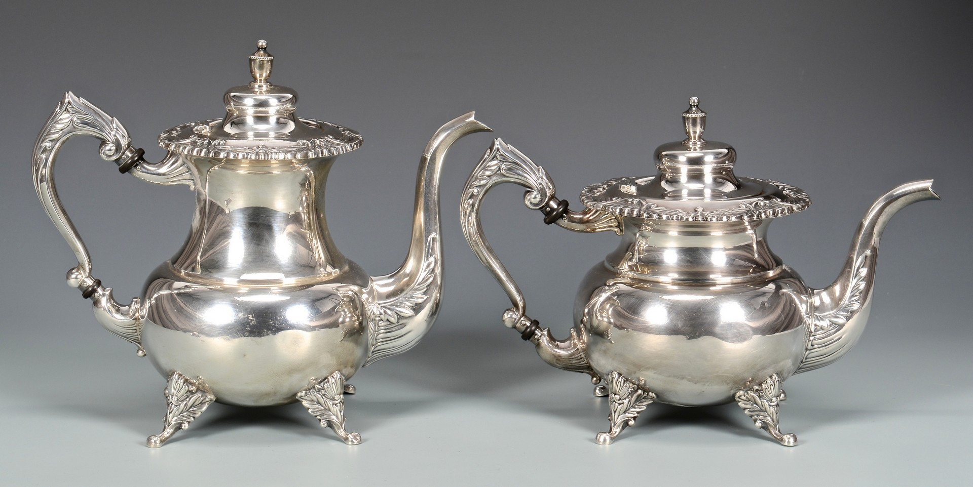 Lot 36: 950 Silver 4-piece Tea Service plus other