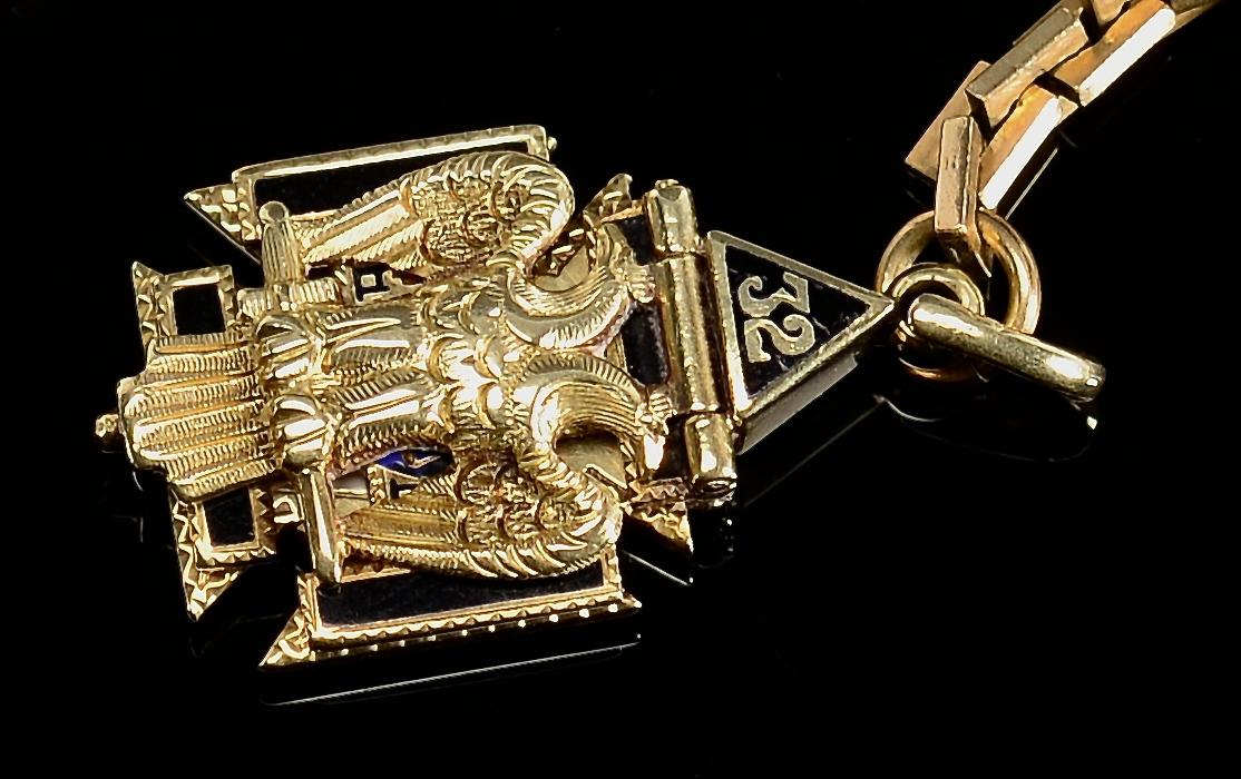 Lot 371: 14k Elgin Hunting Case watch w/ 14k Masonic Charm