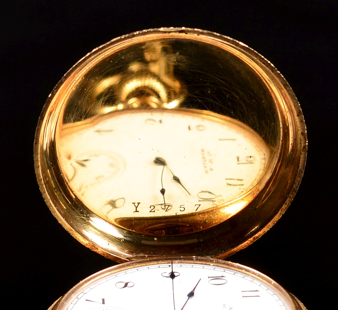 Lot 372: 2 14k Waltham Hunting Case Watches
