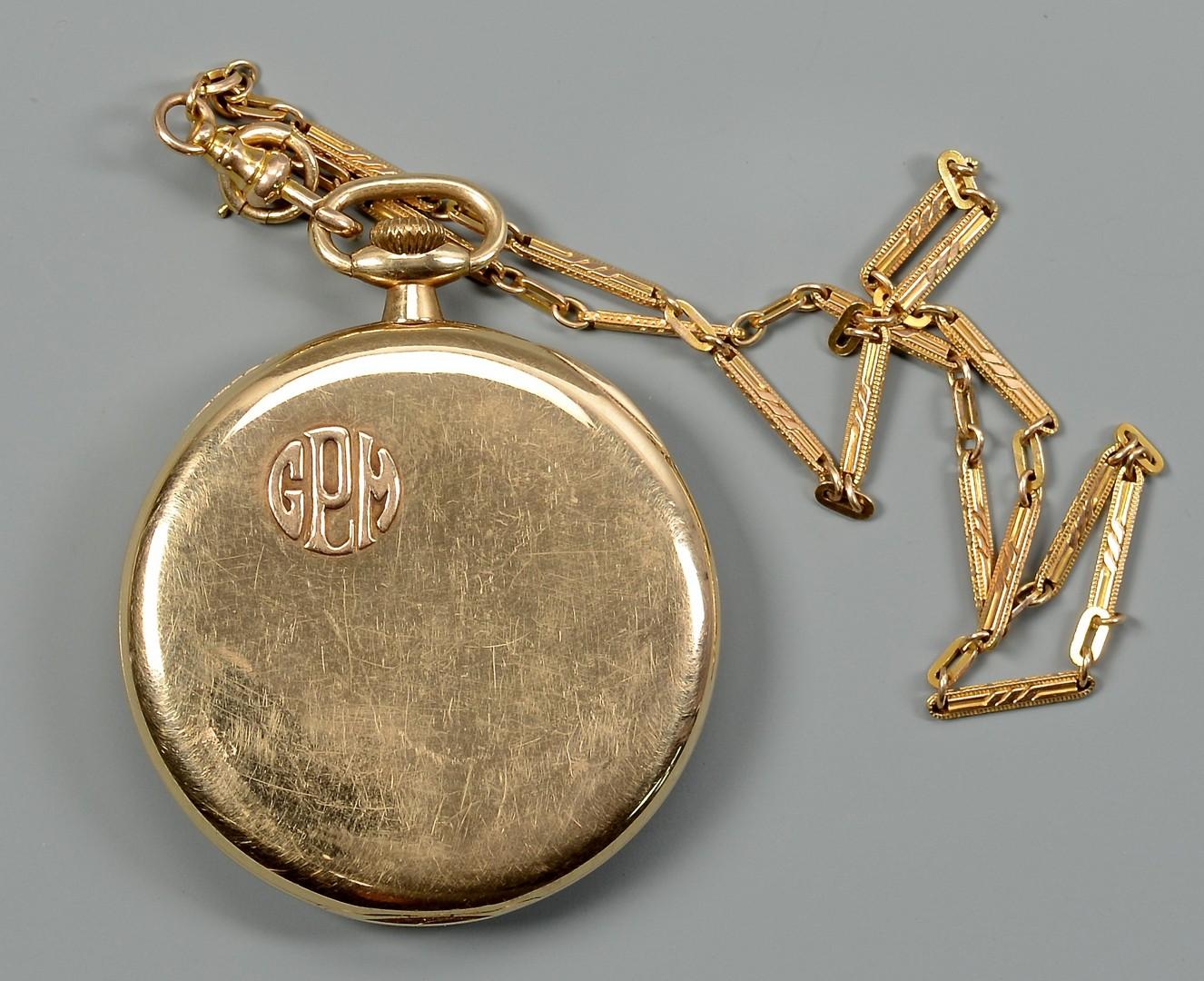 Lot 373: 2 Pocket Watches, 14K Waltham w/ 14K Chain, Enamel