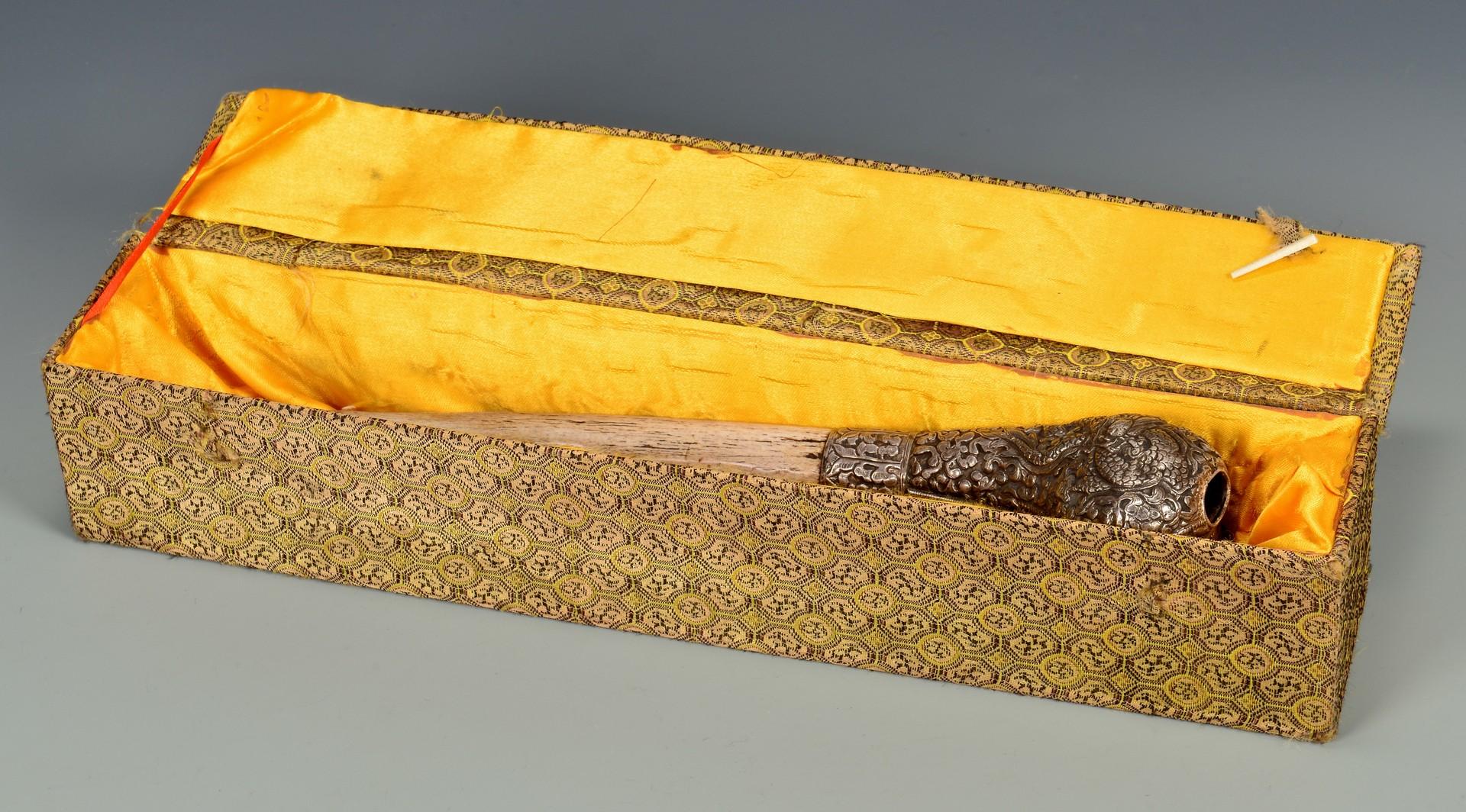 Lot 375: Tibetan Silver Mounted Bone Trumpet & 2 Chops