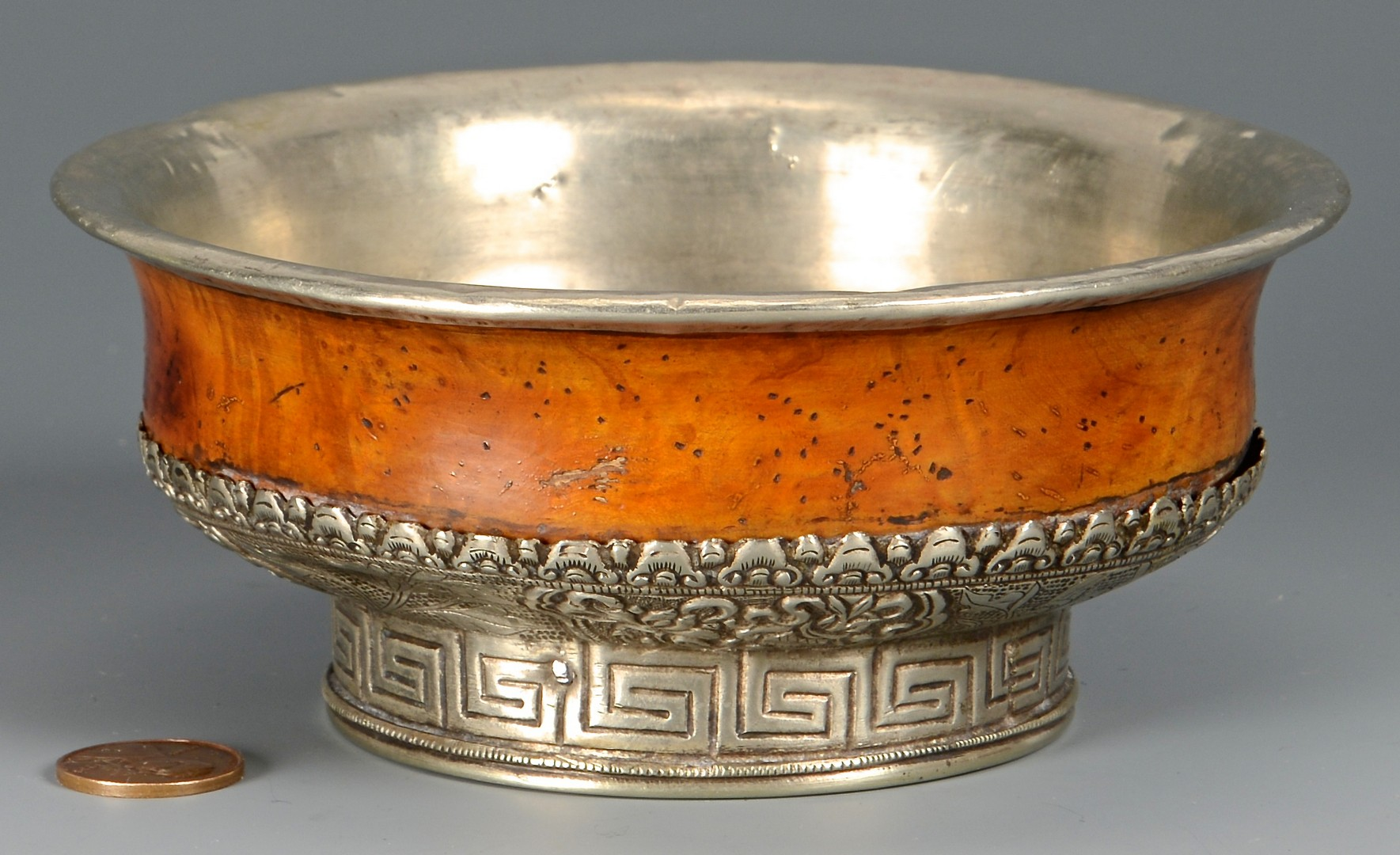 Lot 376: Tibetan Burl Wood & Silver Tea Bowl