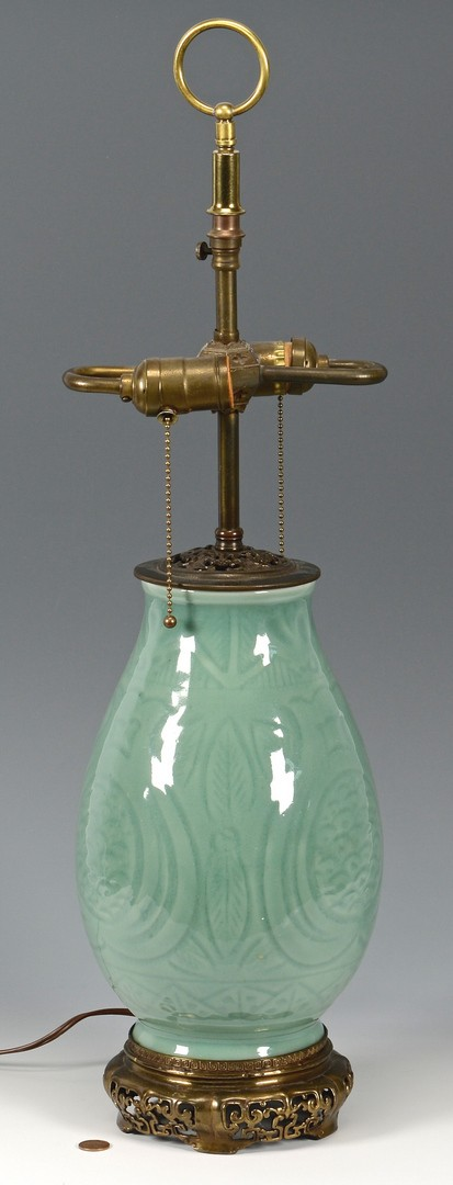 Lot 384: Chinese Celadon Lamp