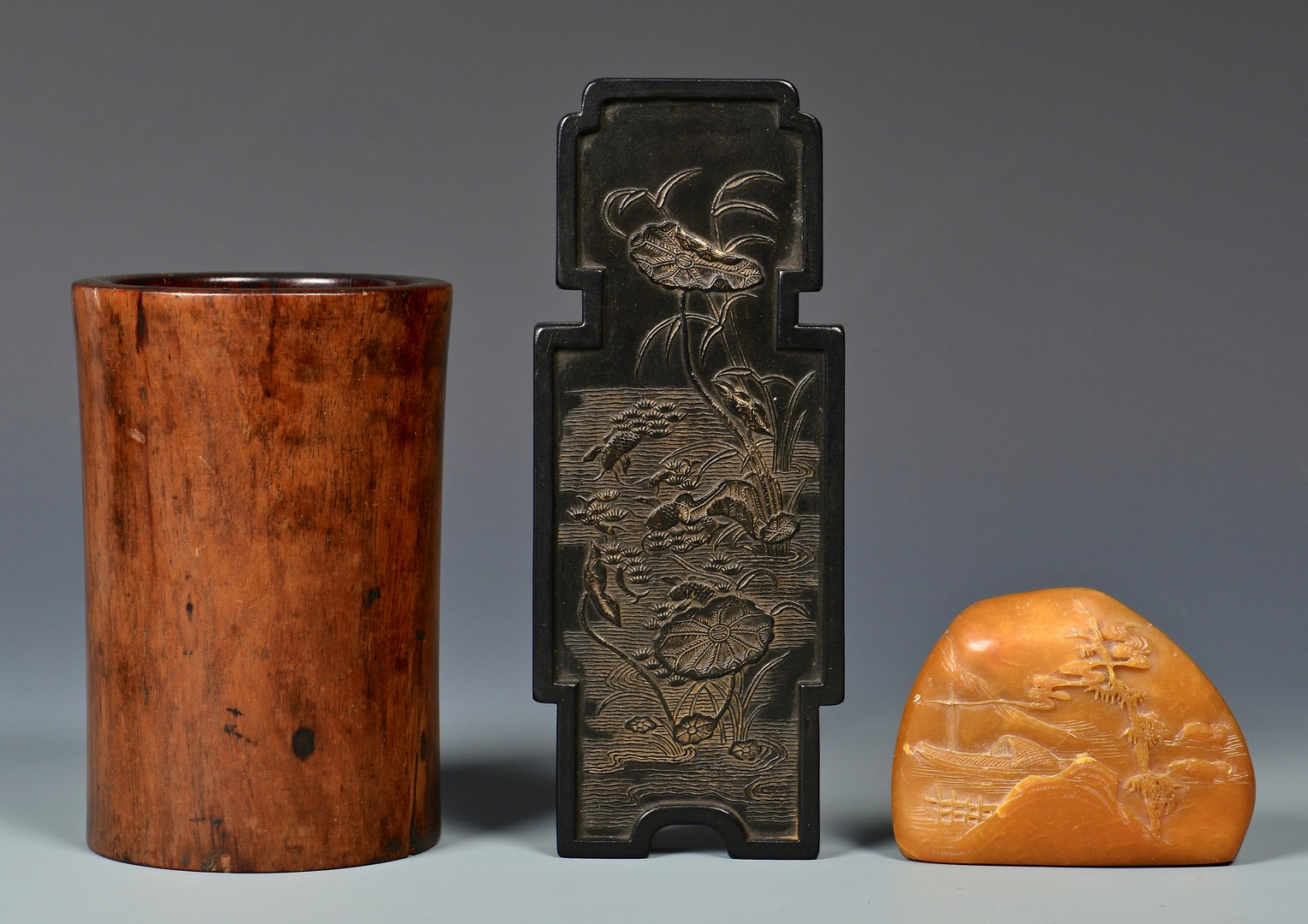 Lot 387: 3 Chinese Scholar's Items plus brushes