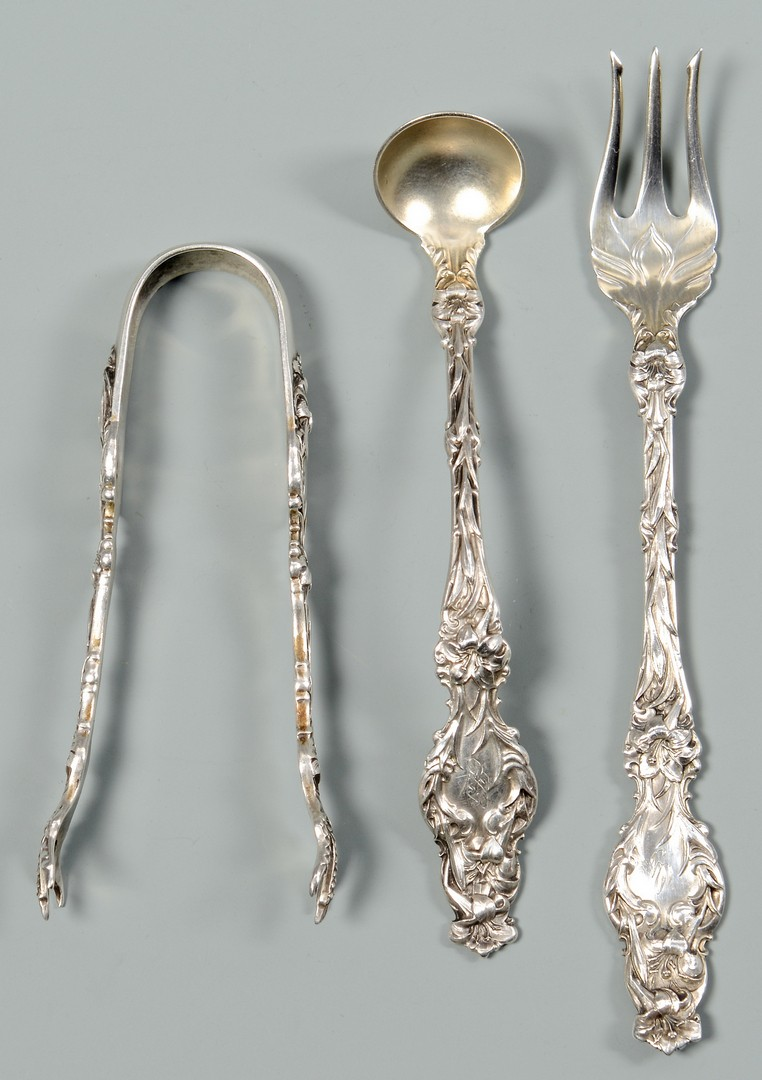 Lot 38: Whiting Lily Sterling flatware, 103 pieces