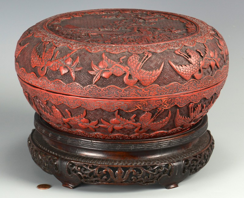 Lot 394: Chinese Cinnabar Covered Round Box