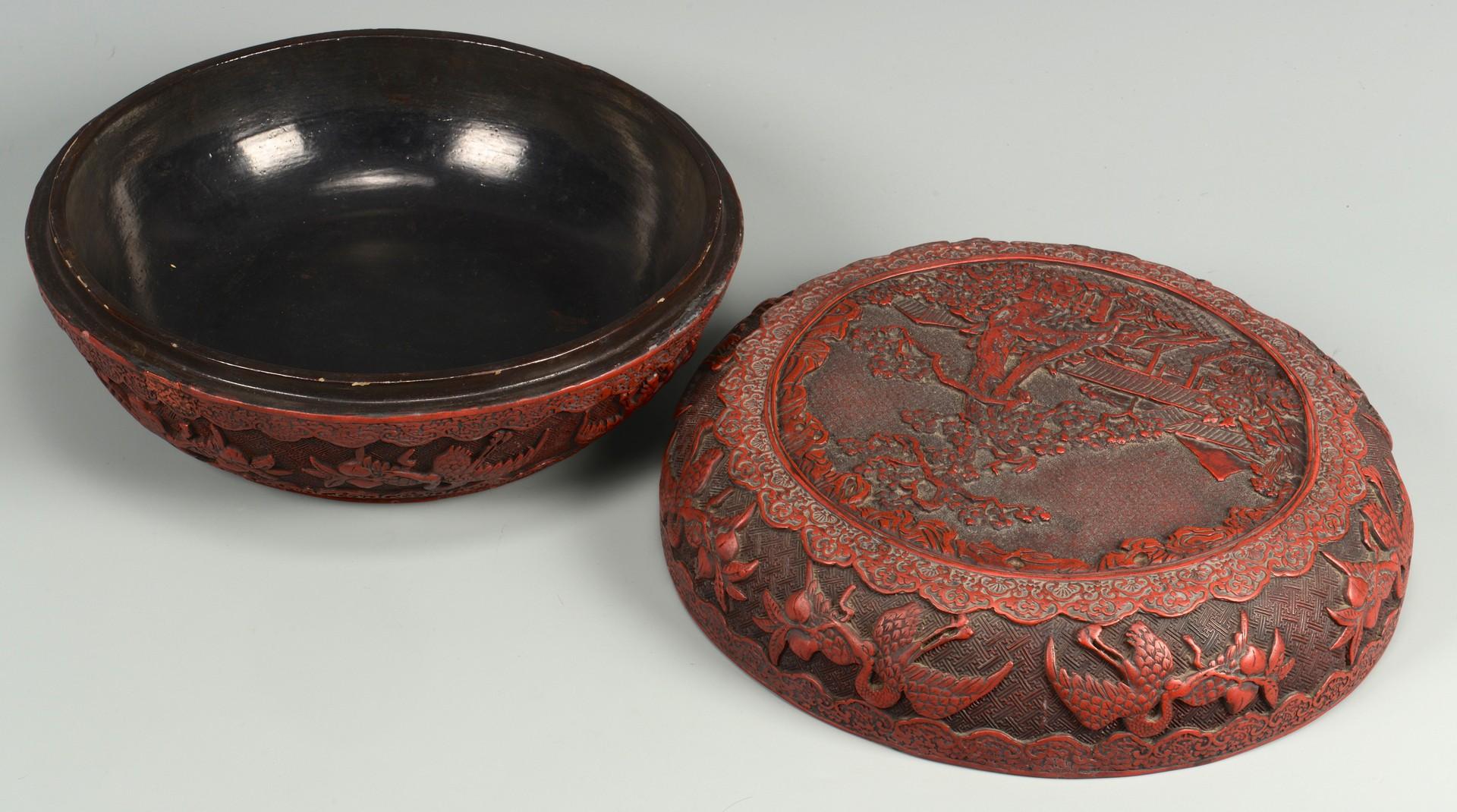 Lot 394: Chinese Cinnabar Covered Round Box