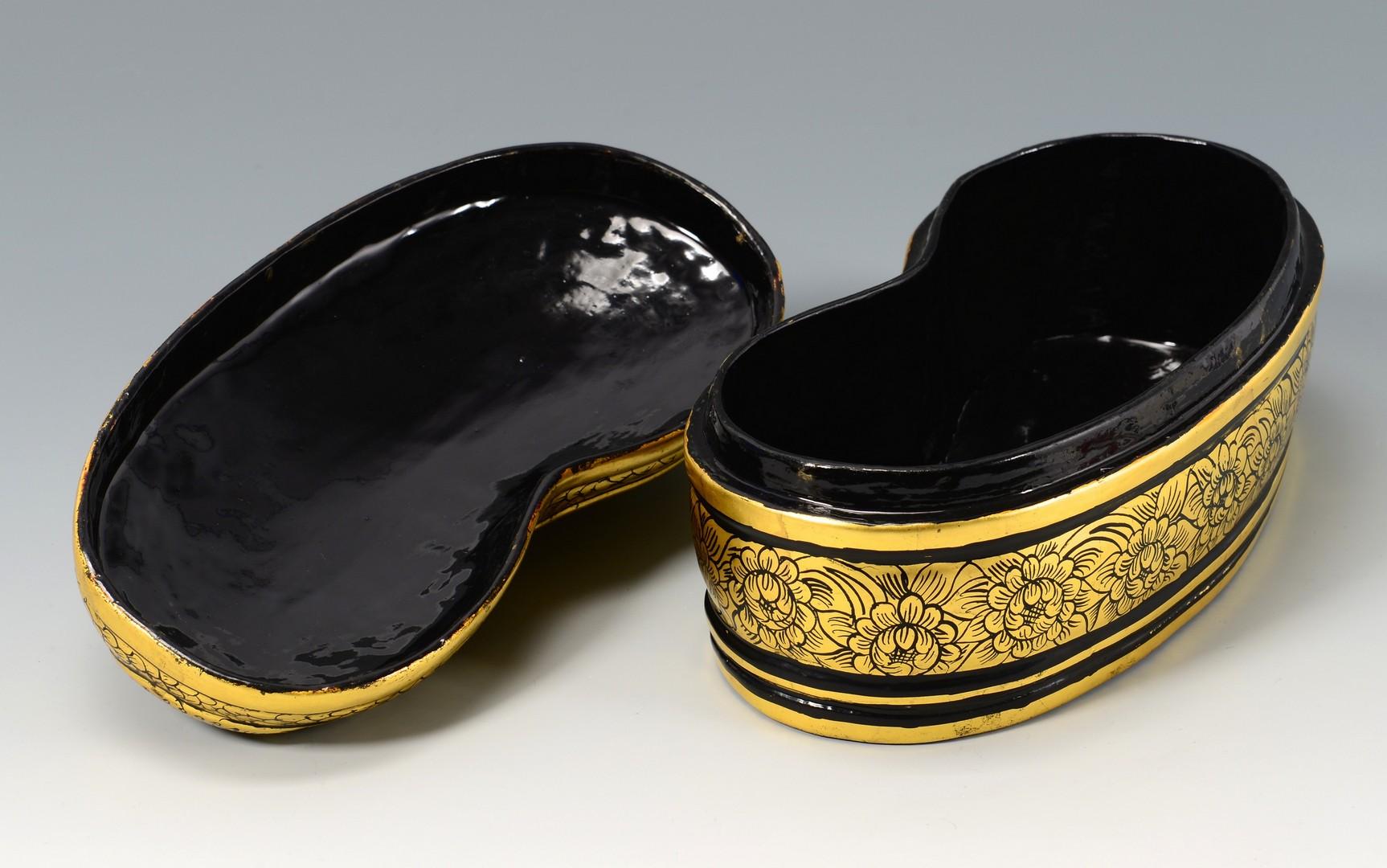 Lot 396: Asian Gilt Lacquer Boxes & Celadon Bowl, 5 items