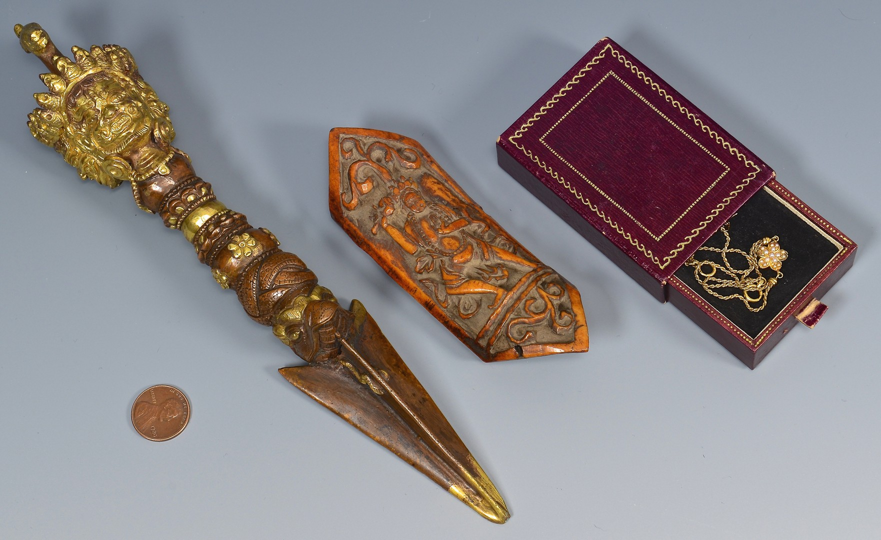 Lot 397: Gilt Bronze Dagger, Tibetan Arm Amulet & Japanese
