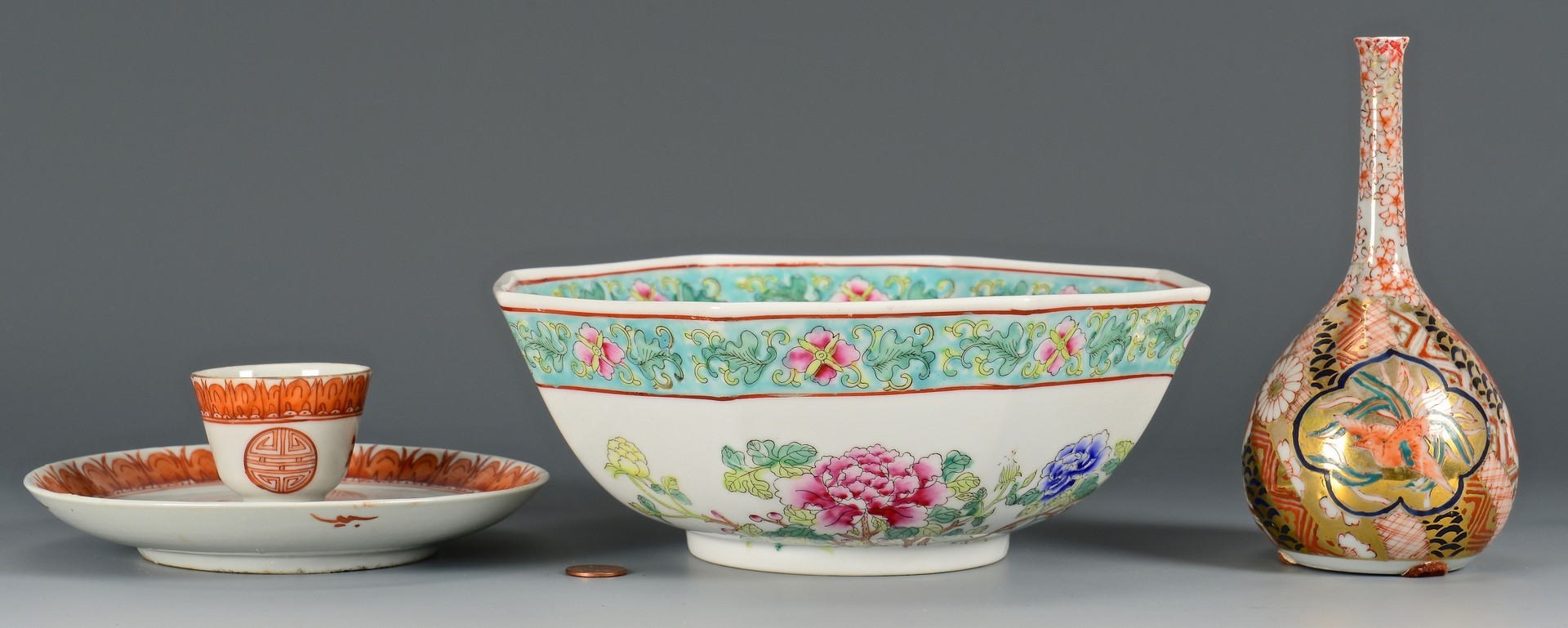Lot 412: Asian bowl, cup, saucer and vase