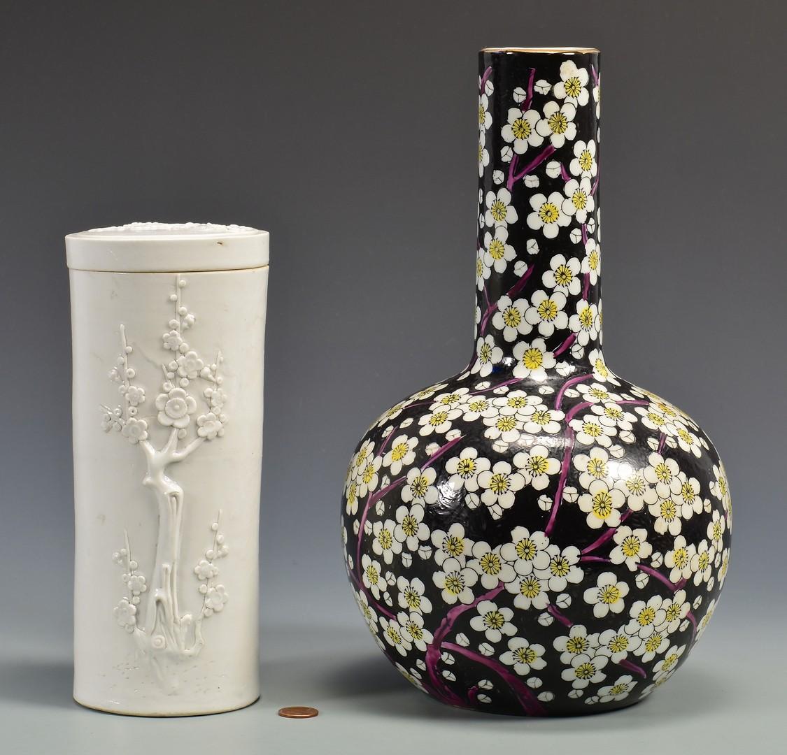 lot 413 blanc de chine jar and famille noir vase. Black Bedroom Furniture Sets. Home Design Ideas