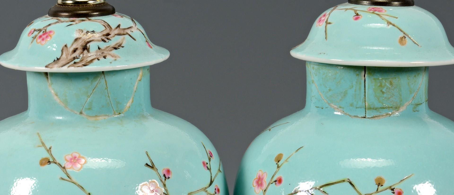 Lot 414: 2 Pair of Lamps, Prunus & Turquoise