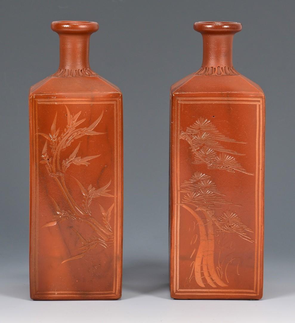 Lot 415: Pr. Yixing Vases w/ Lacquer Case