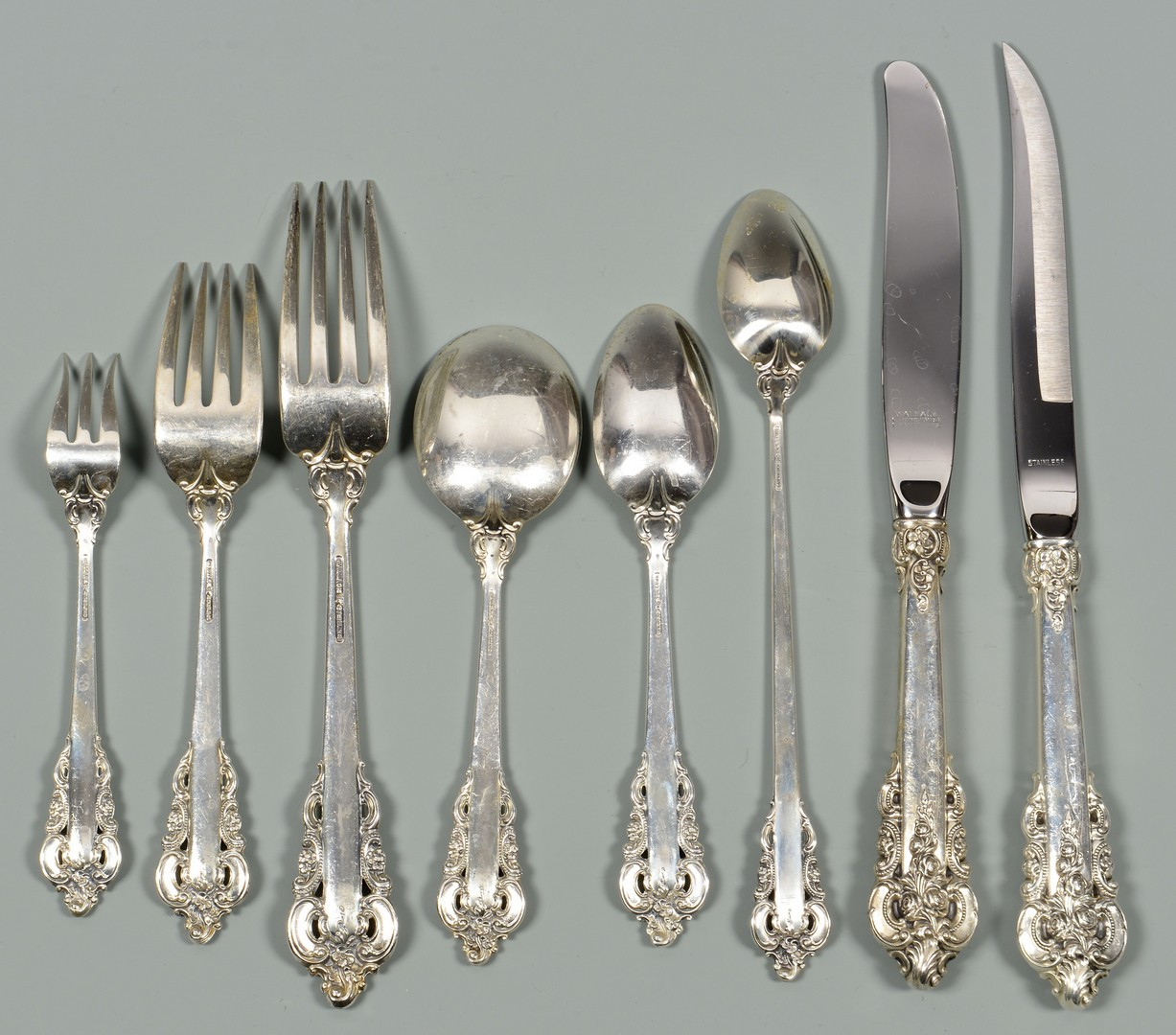 Lot 41: Grand Baroque Sterling Flatware, 143 pieces