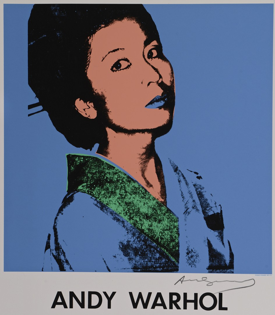 Lot 434: Andy Warhol signed poster, Kimiko Powers