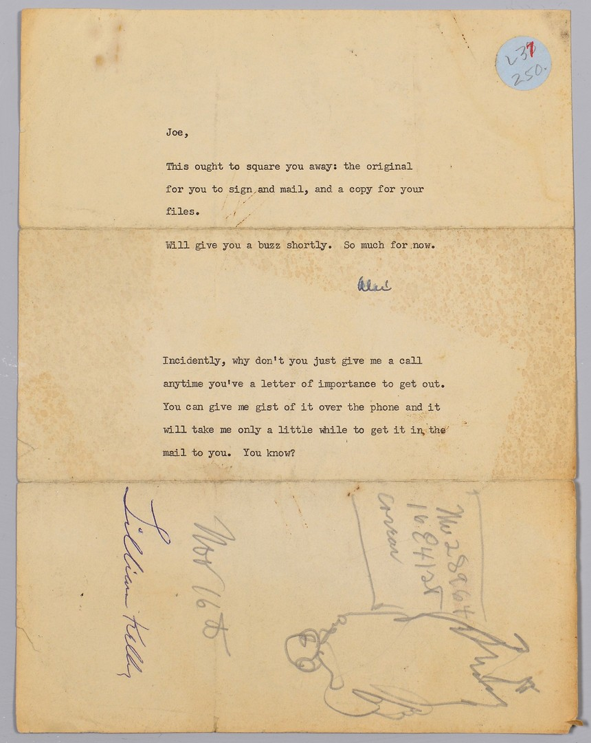 Lot 440: Jos. Delaney- Alex Haley Drawings, Letters