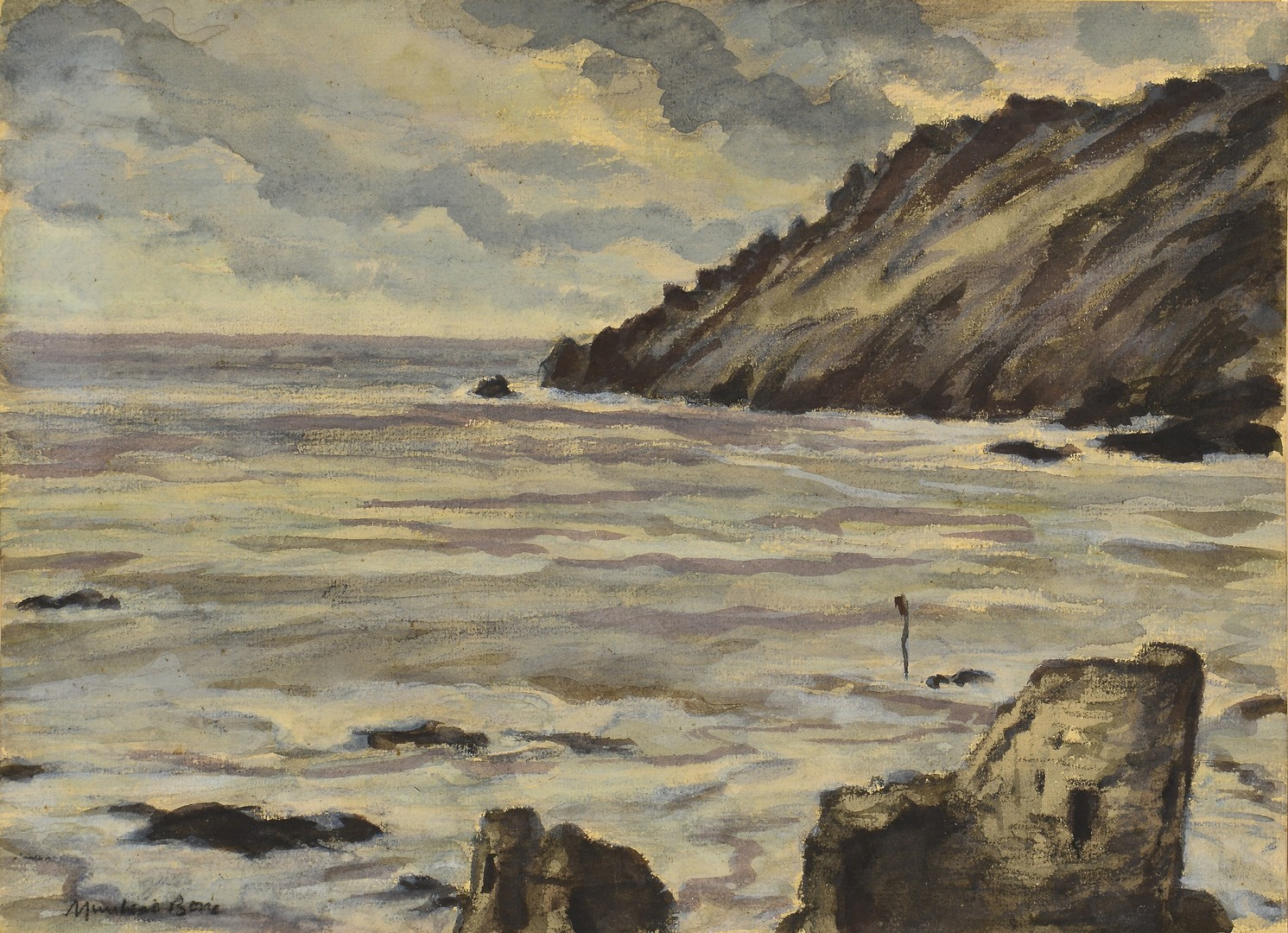 Lot 459: Muirhead Bone Seascape Watercolor