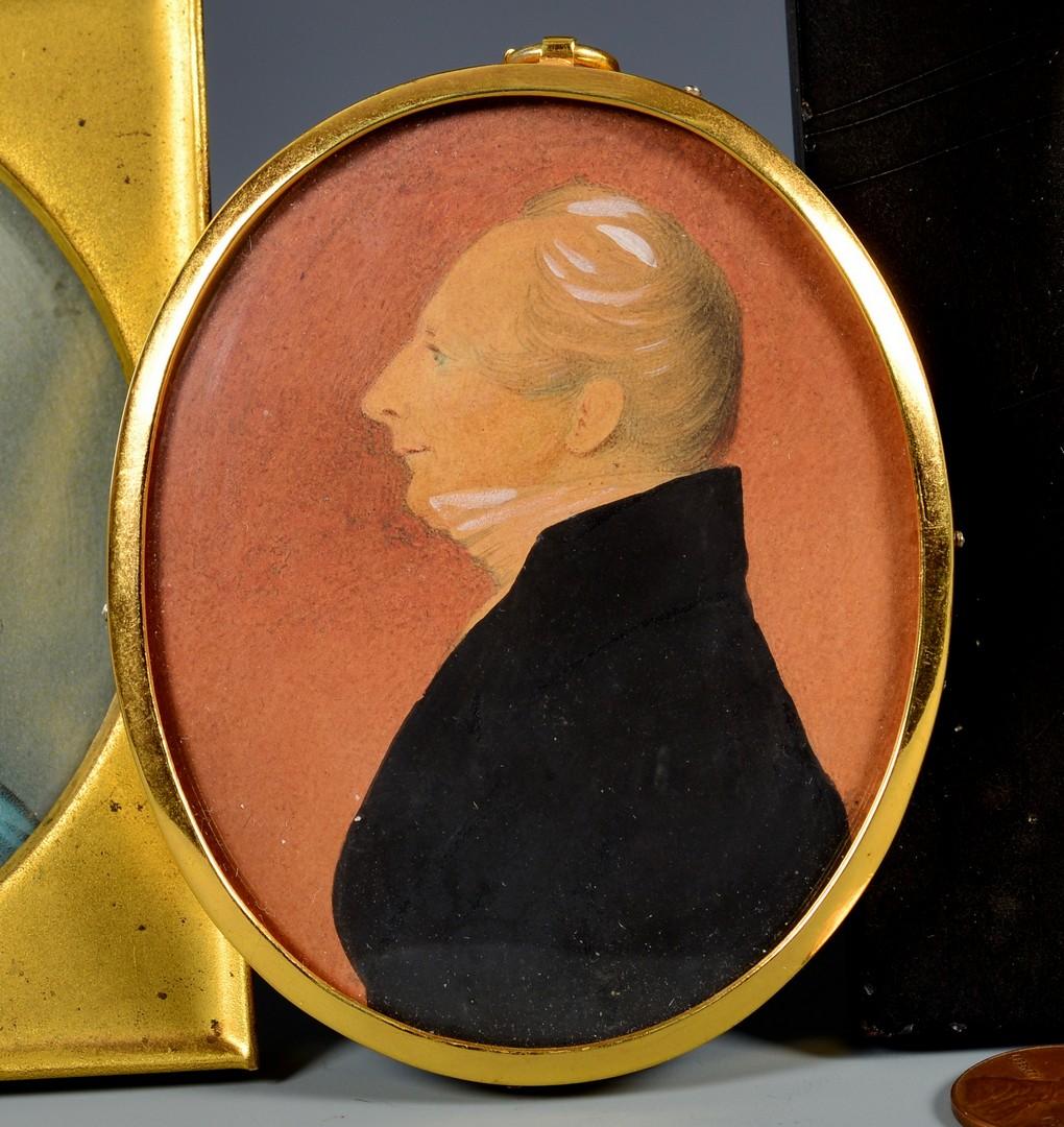 Lot 464: 3 miniature portraits inc. silhouettes