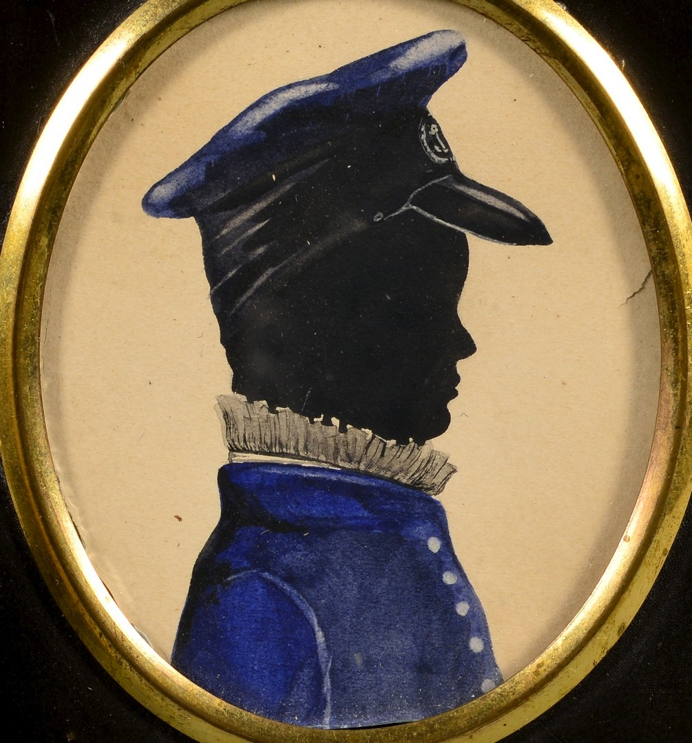 Lot 464: 3 miniature portraits inc. silhouettes