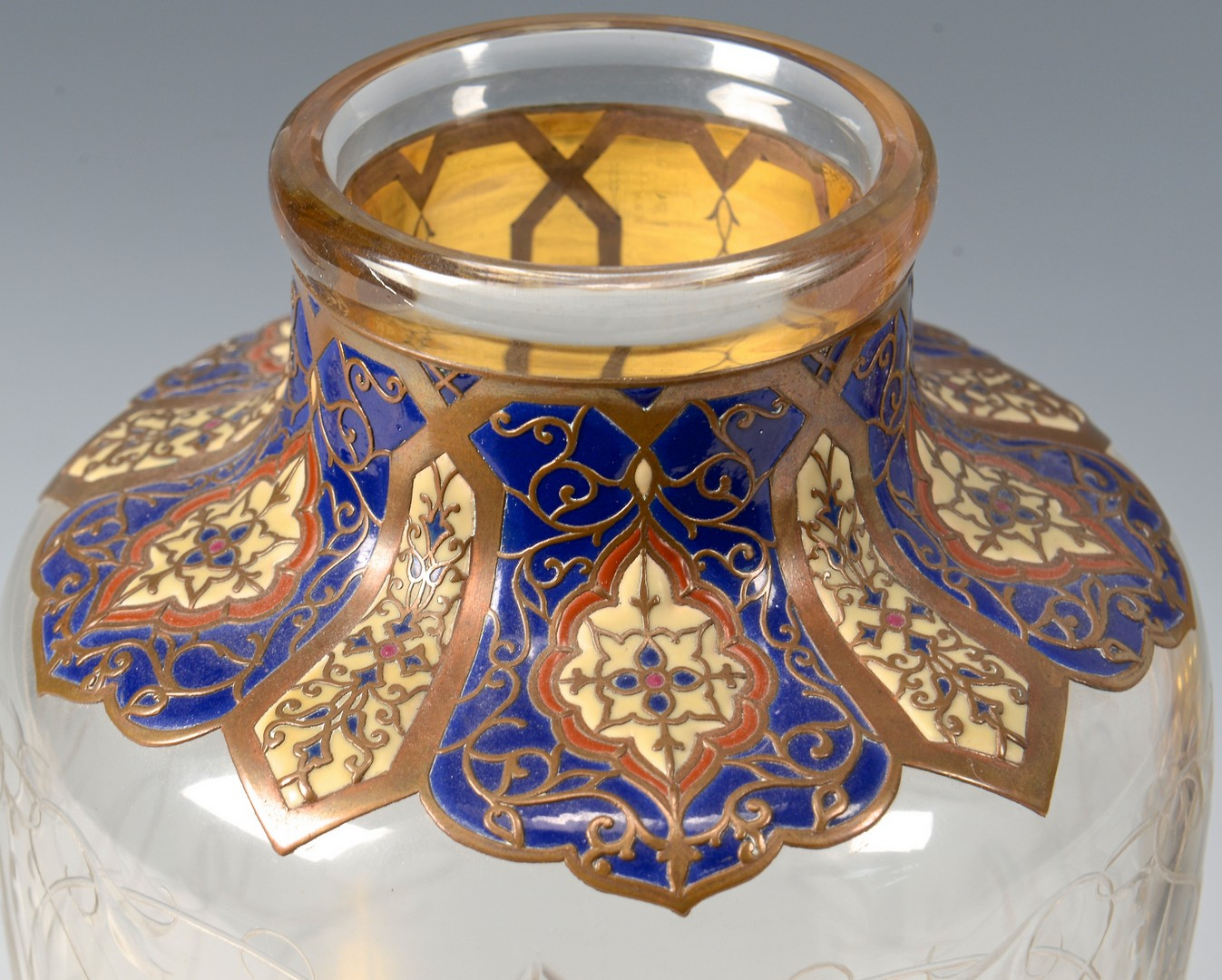 Lot 465: Enameled Glass Vases attr. Russia