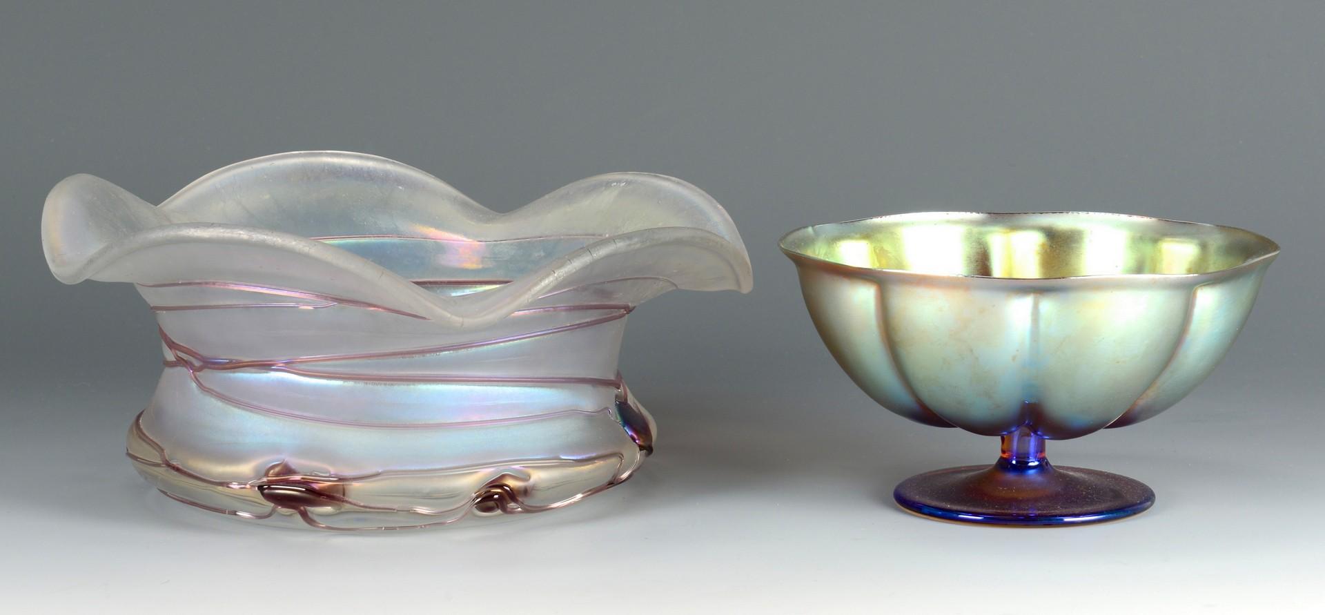 Lot 468: 2 Art Glass Bowls, 1 poss. Steuben