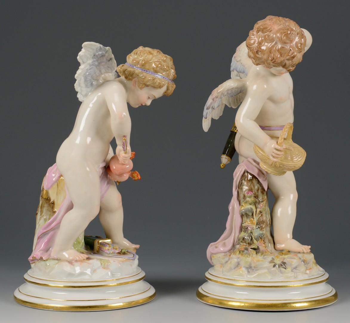 Lot 475: Pr. Large Meissen Cupid Figures