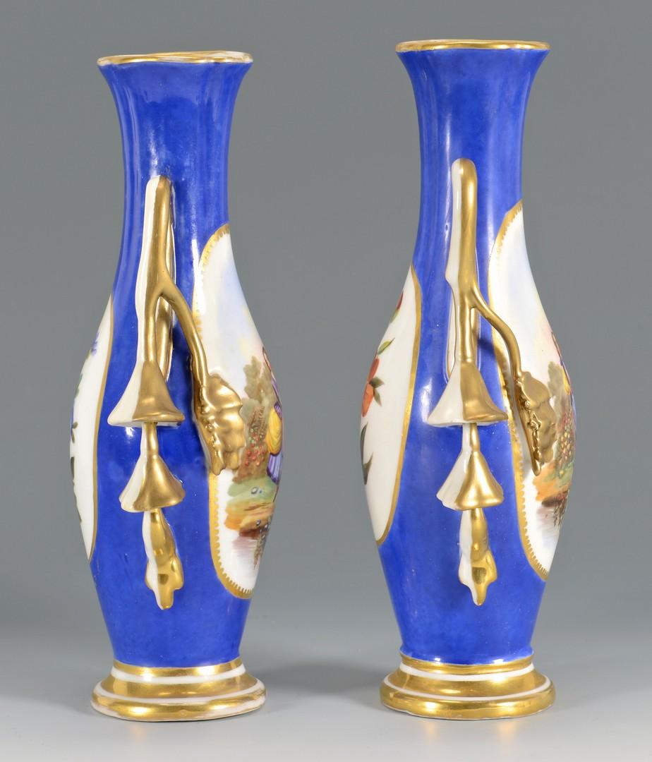 Lot 480: Pr Old Paris Porcelain Vases & Figural Dish