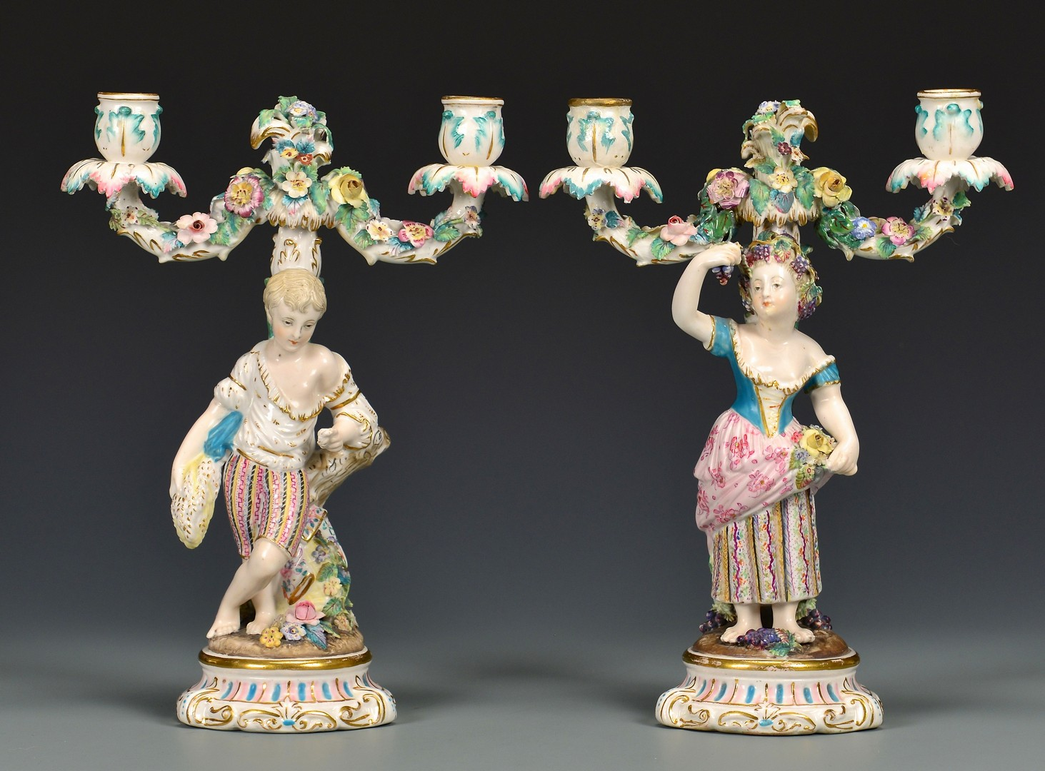 Lot 482: Pr. German Figural Candelabra & European Lamps