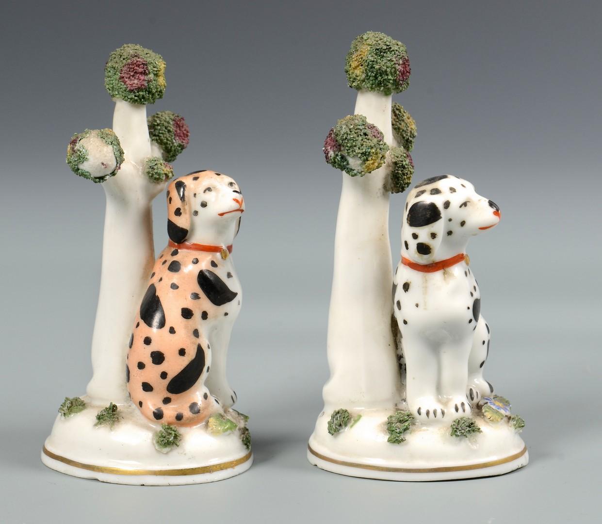 Lot 484: 3 Miniature Staffordshire Figures inc bocage dogs