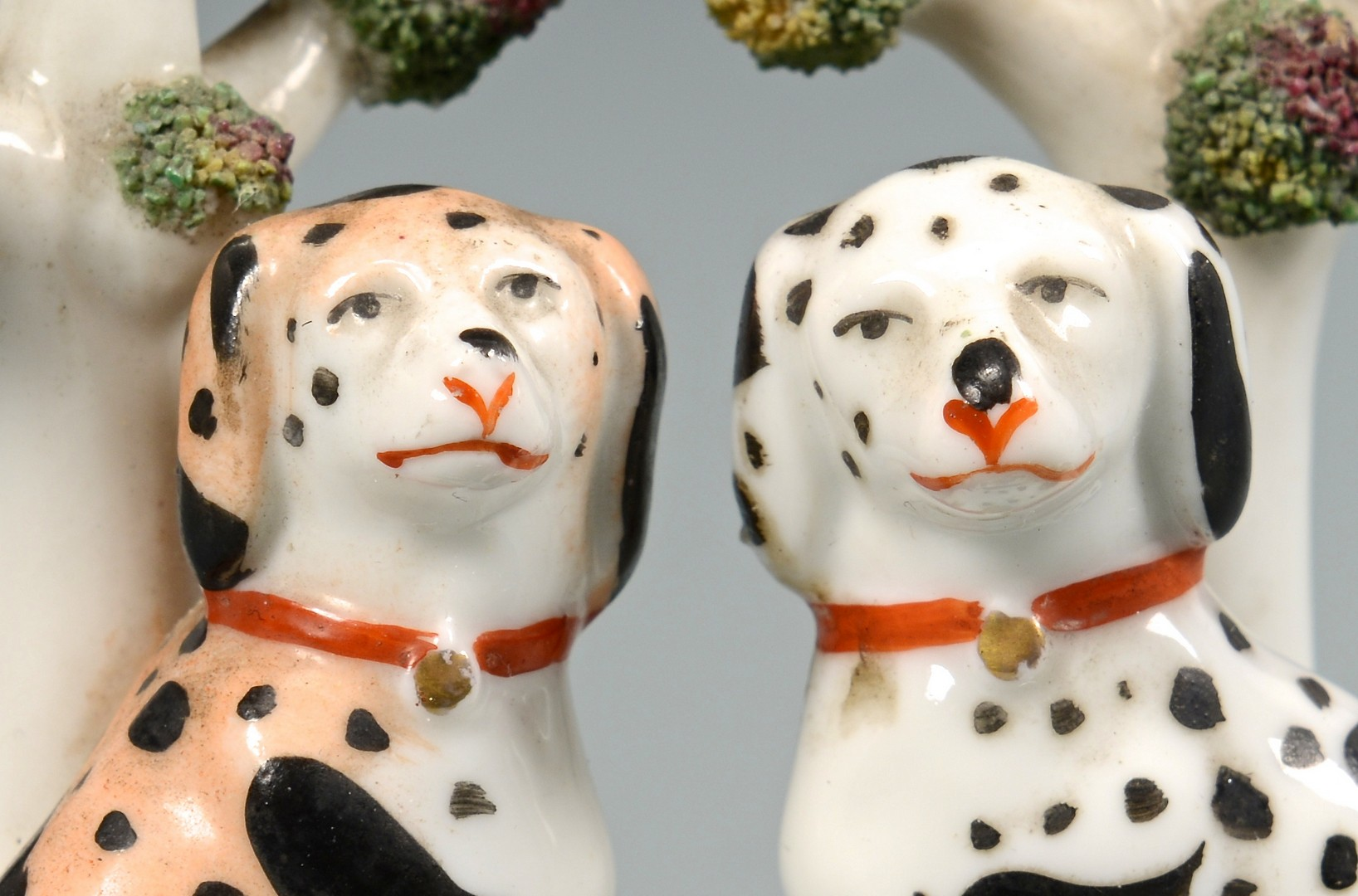 Lot 484: 3 Miniature Staffordshire Figures inc bocage dogs