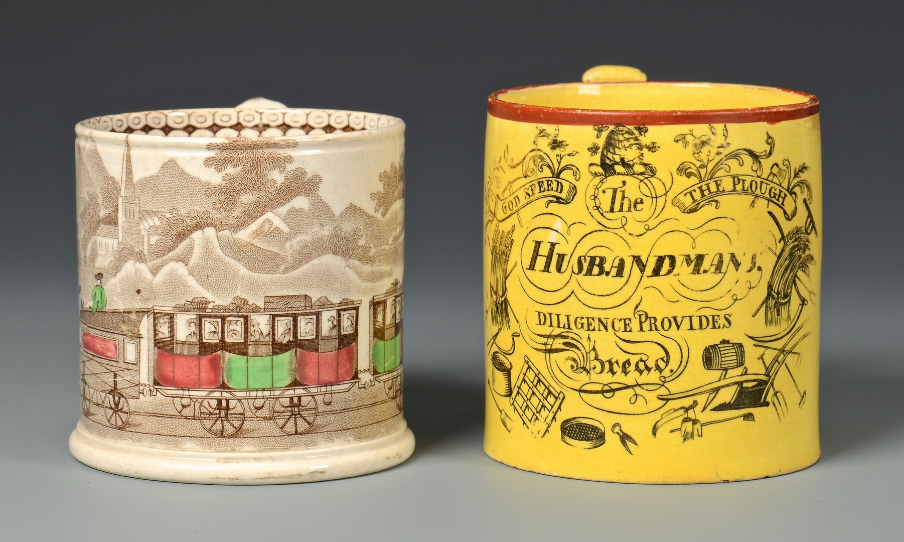 Lot 485: Canary and Railway Transferware Mugs