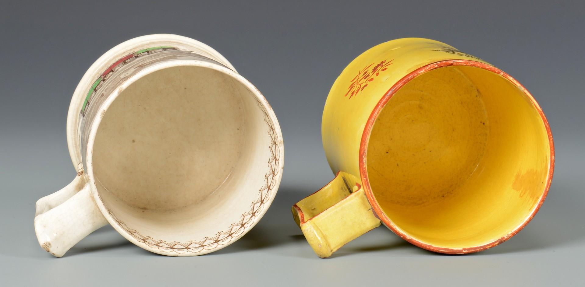 Lot 485: Canary and Railway Transferware Mugs