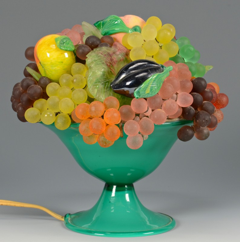 Lot 488: Vintage Glass Fruit lamp