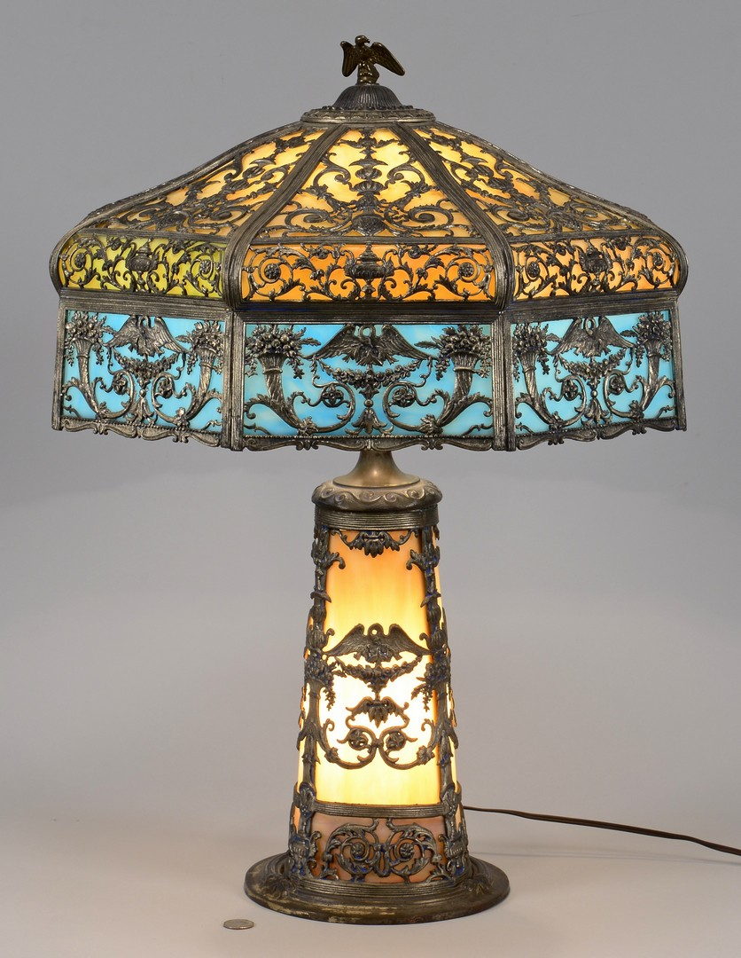 Lot 489: N.W.A.S. Co. Slag Glass Lamp, Patriotic Theme