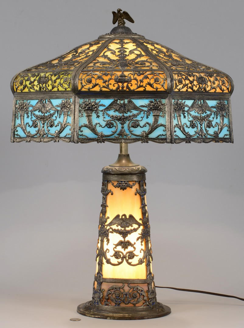 Lot 489: N.W.A.S. Co. Slag Glass Lamp, Patriotic Theme
