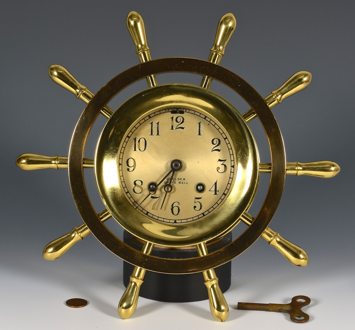 Lot 492: Brass Marine Chelsea Ship's Bell Clock