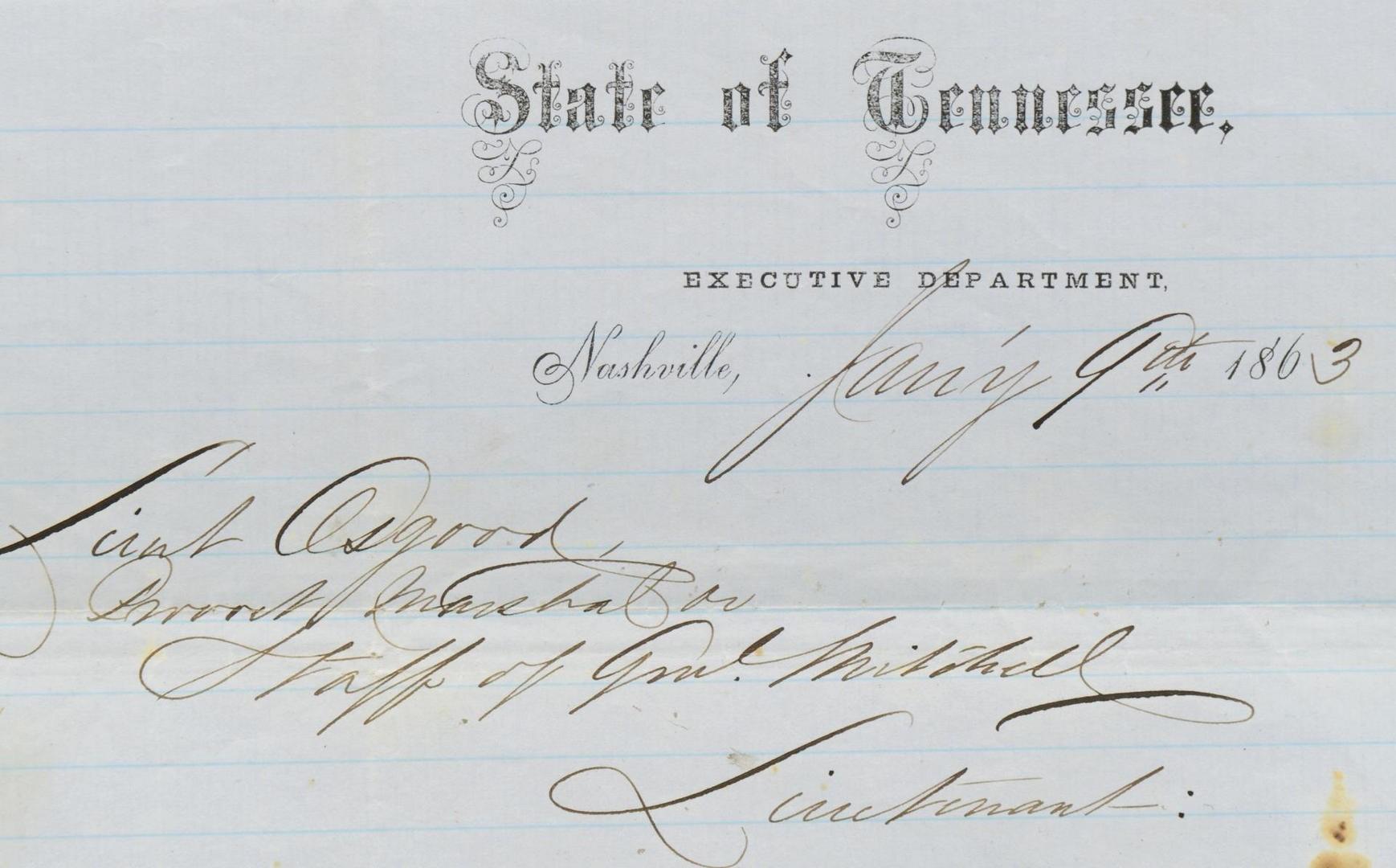 Lot 493: 2 Nashville Civil War Letters + MS Newspaper