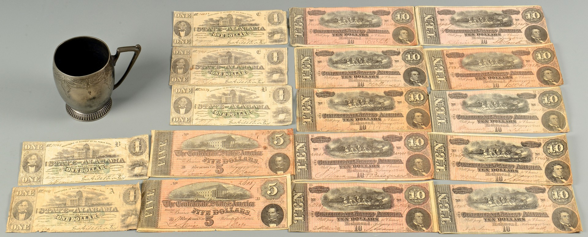 Lot 500: Archive of Confederate Currency & Premium Cup