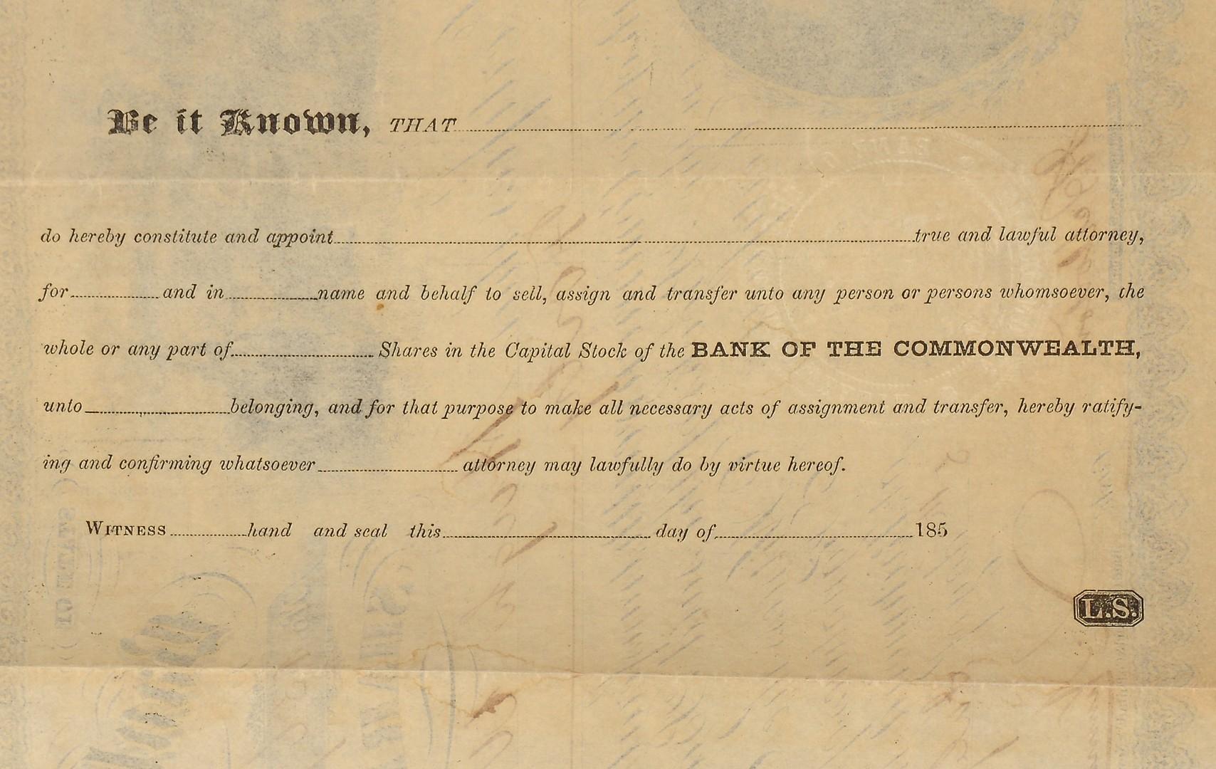 Lot 501: Civil War era Bond & Stock Certificate, $5 Railway