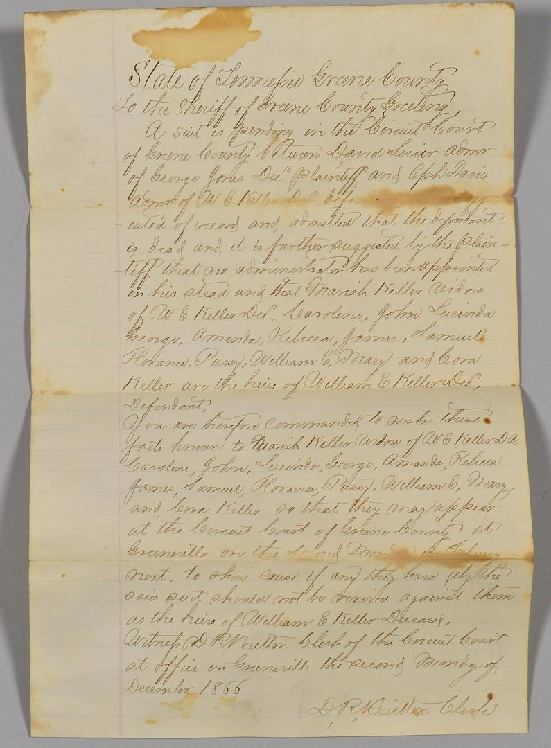 Lot 502: Greene Co. TN Civil War Documents incl. Wounded Li
