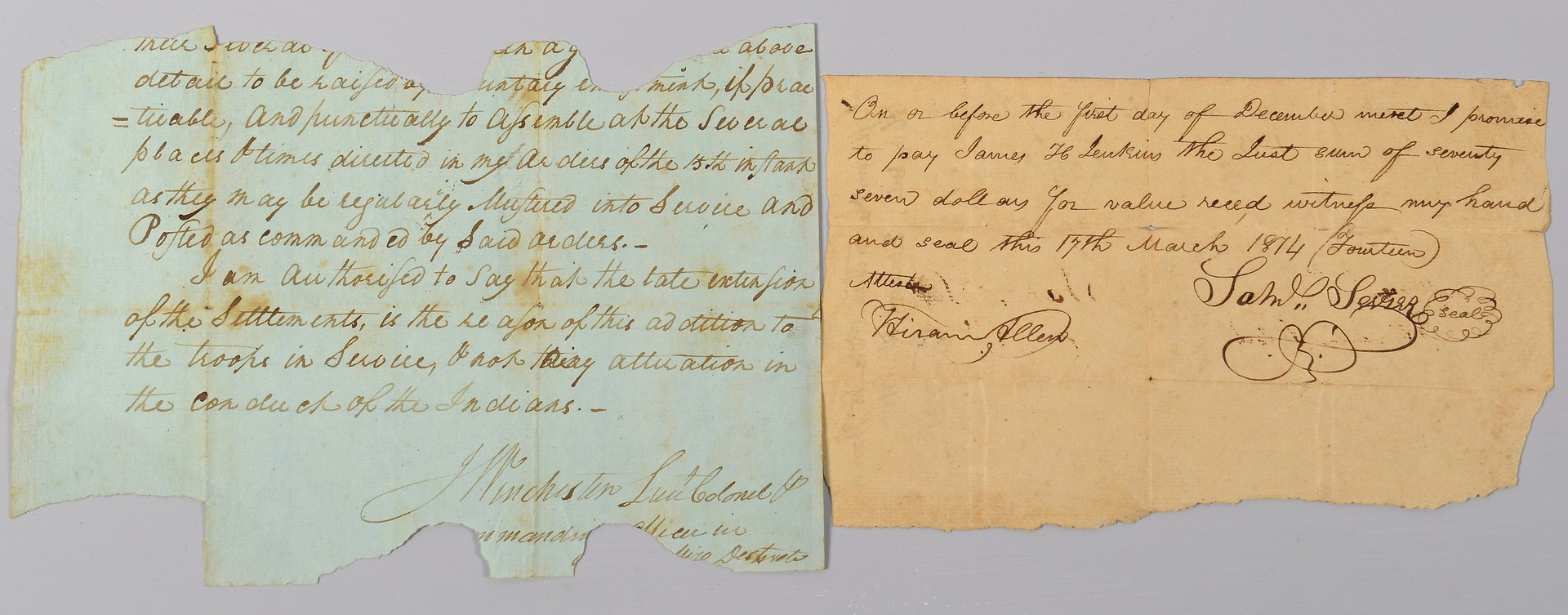Lot 509: TN Autographs: Sevier and Winchester