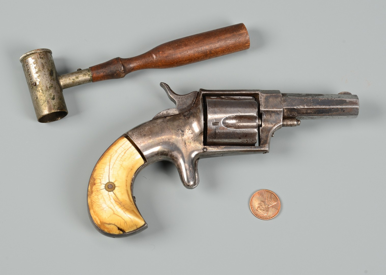 Lot 527: Hopkins & Allen XL No. 4 NY Revolver & Powder Meas