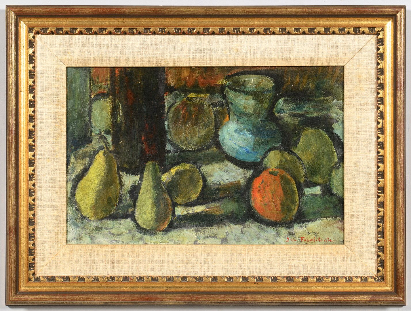Lot 537: Jose Fabri-Canti oil, still life with pears