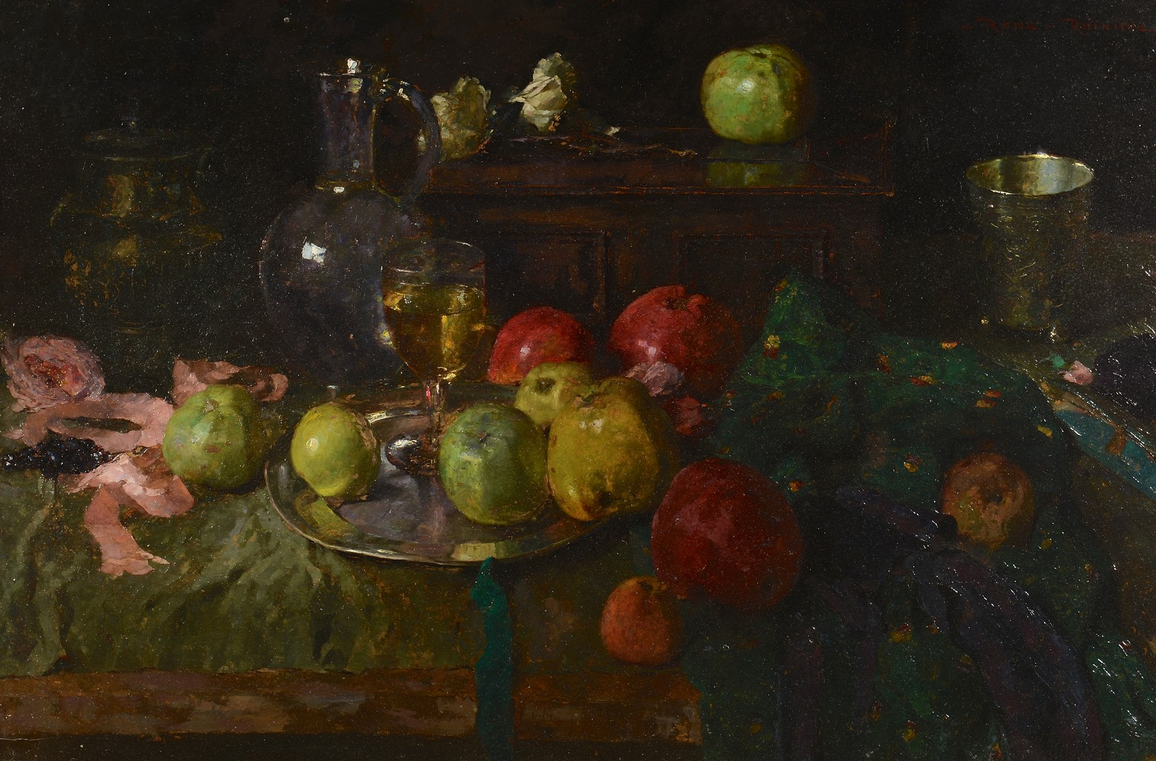 Lot 538: Rene Reinicke, Still Life with Wine and Apples
