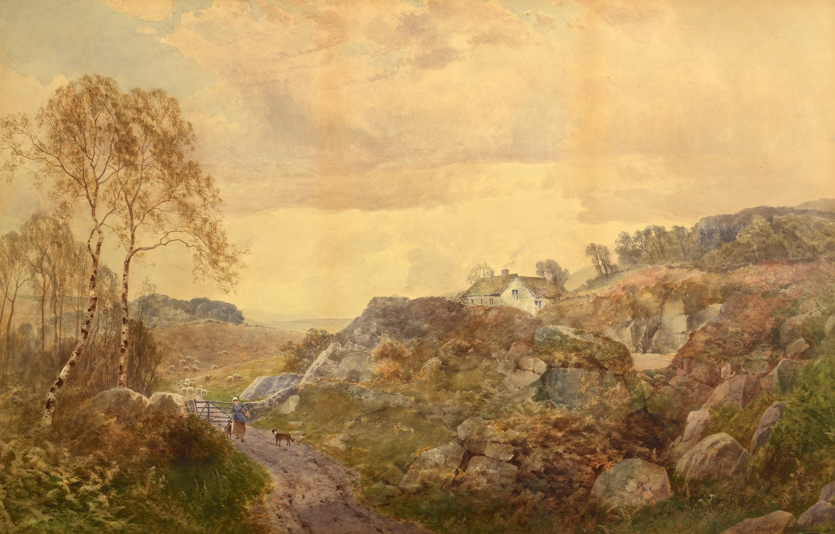 Lot 539: Frank Gresley Watercolor Landscape