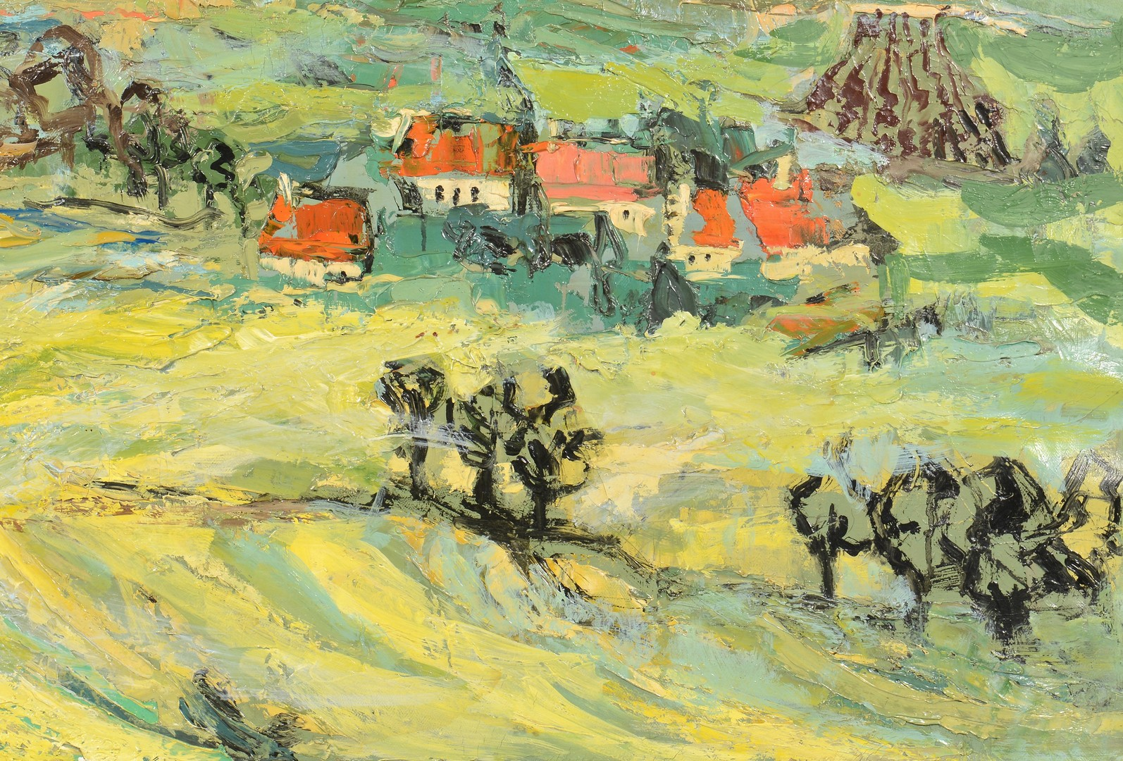 Lot 540: Renee Theobald, o/c landscape with houses