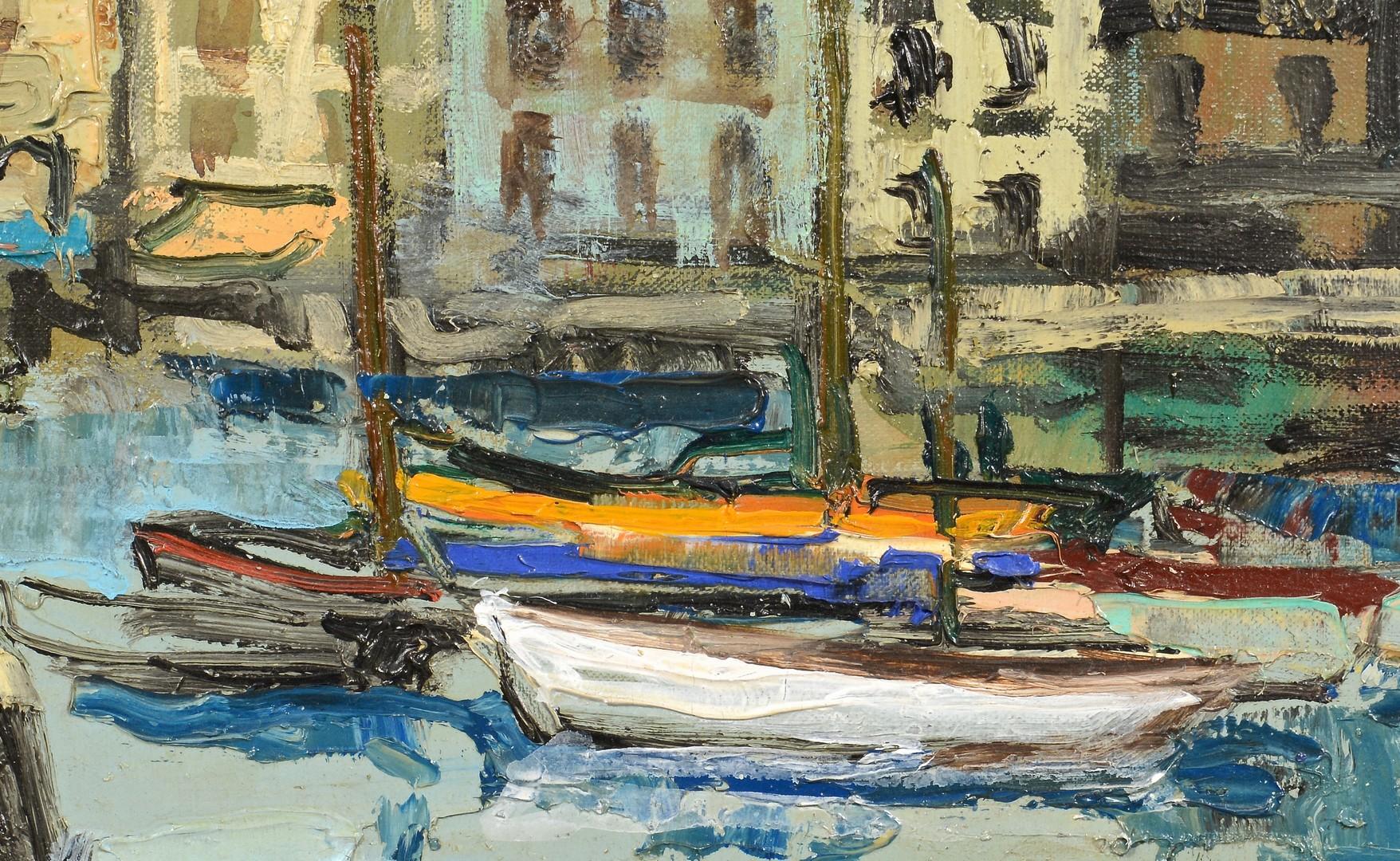 Lot 542: Renee Theobald, o/c harbor scene